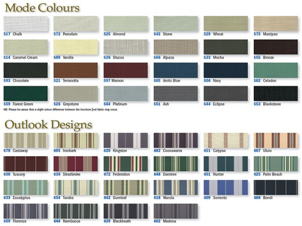 Sunesta and Sunbusta Awning Fabric Colours and Patterns