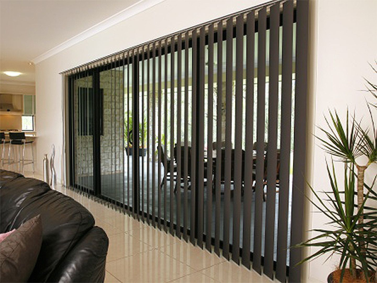vertical blinds to control both light level and privacy. Black Bedroom Furniture Sets. Home Design Ideas